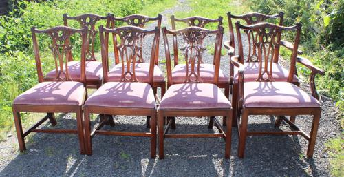 1960's Set of 8 Chippendale Style Dining Chairs 6+2 Carvers (1 of 3)