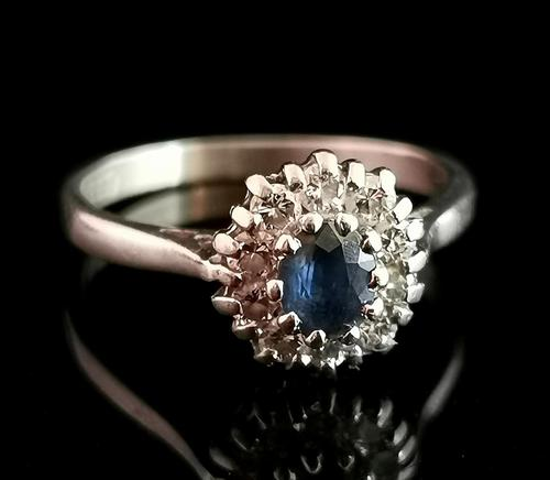 Vintage Sapphire & Diamond Cluster Ring, 18ct White Gold (1 of 13)