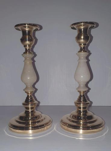 Pair of Early 20th Century Polished Brass & Alabaster Candlesticks (1 of 3)