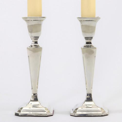 Pair of Silver Art Deco Candlesticks by E J Houlston Birmingham 1928 (1 of 11)