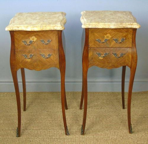 Antique Pair of French Bedside Cabinets Marble Top (1 of 6)