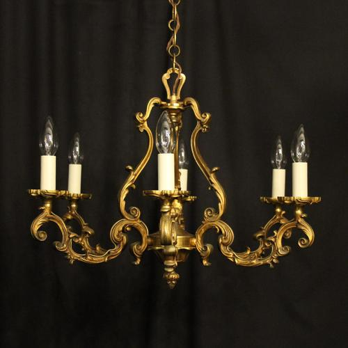 French Gilded Bronze 8 Light Rococo Chandelier c.1930 (1 of 10)
