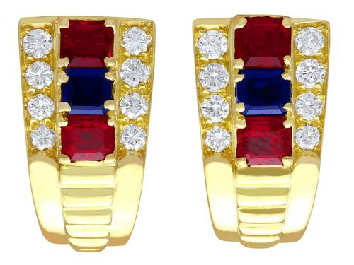 1.38ct Ruby & 0.65ct Sapphire, 0.64ct Diamond & 18ct Yellow Gold Earrings - Vintage c.1990 (1 of 9)