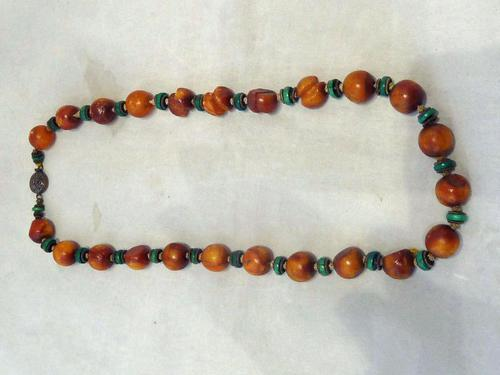 Antique Chinese Butterscotch Amber & Malachite Necklace - 42.3 grams (1 of 6)
