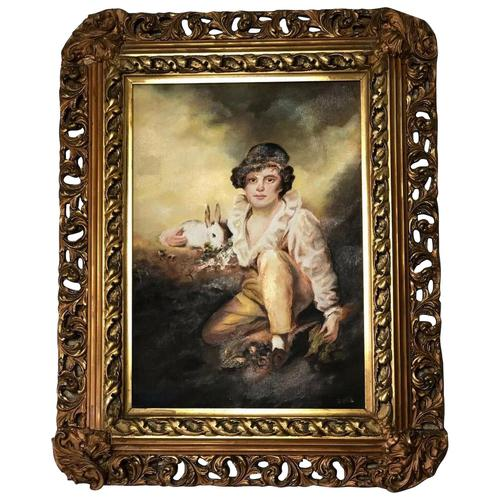 19th Century Oil Painting Young Boy & Rabbit After Henry Raeburn (1 of 12)