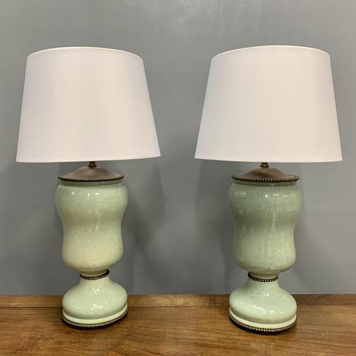 Pair of Art Deco Teal Blue Ceramic Lamps (1 of 8)