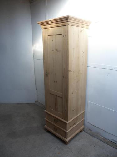 Tall Antique Pine 1 Door Front to Back Pole Child's Wardrobe to Wax / Paint (1 of 9)