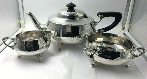 Solid Silver tea set service planished design art nouveau Charles Edwards 1919 (1 of 9)