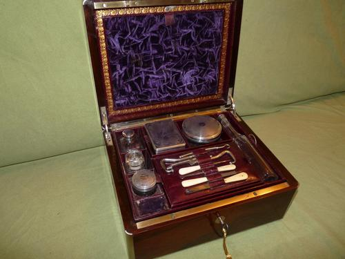 Quality Edge Bound Rosewood Gents Fitted Dressing Box c.1850 (1 of 16)