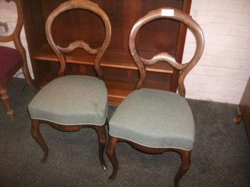 Pair of Balloon Back, Cabriole Legged Chairs (1 of 3)