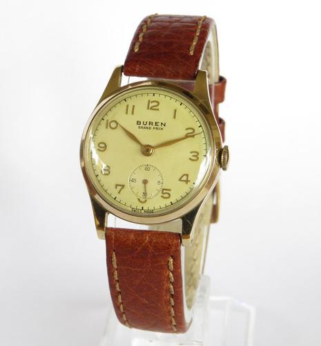 Mid-size 9ct Gold Buren Grand Prix Wrist Watch, 1956 (1 of 5)