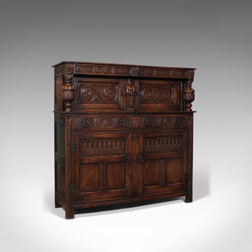 Antique Court Cabinet, English, Oak, Sideboard, Credenza, Jacobean Revival, 1890 (1 of 12)