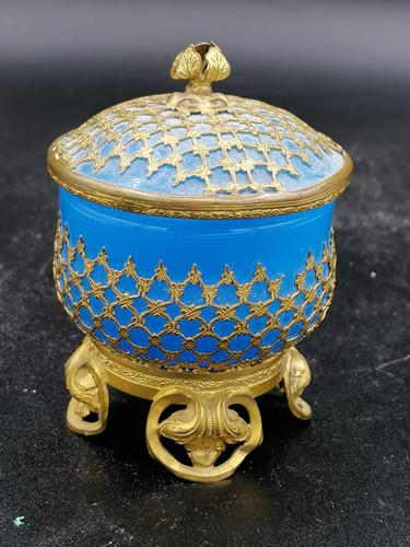 Palays Royale Box in Blue Opaline & Gold Brass Frame (1 of 5)