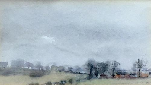 Ian Armour-Chelu Watercolour 'Wet Day in Suffolk' (1 of 2)