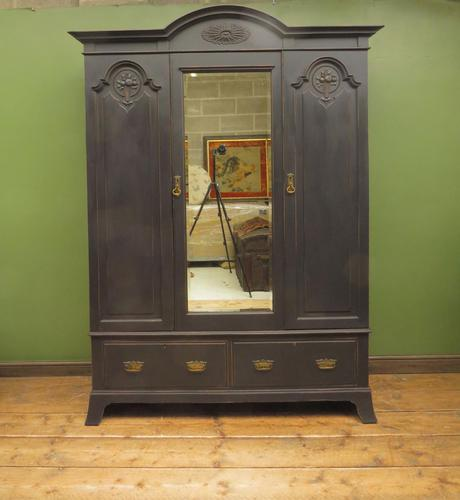 Antique Black Painted Mirrored Triple Wardrobe in 5 Parts, Gothic Shabby Chic (1 of 17)