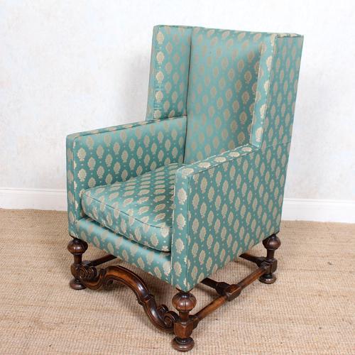 Lounge Chair Armchair Walnut Wingback Edwardian (1 of 12)