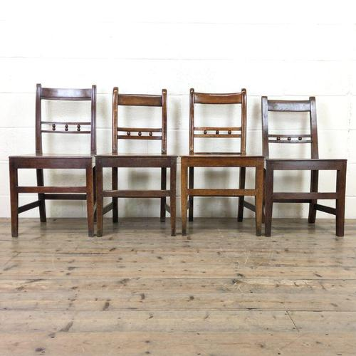 Harlequin Set of 19th Century Welsh Oak Ball & Rail Back Chairs (1 of 11)