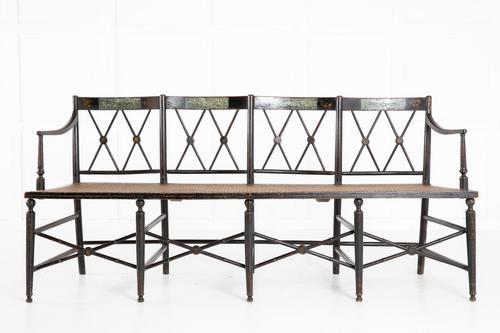 English 19th Century Regency Ebonised Cane Seat Sofa (1 of 8)