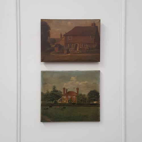 Pair of Primitive Antique Oil Paintings of Houses (1 of 6)