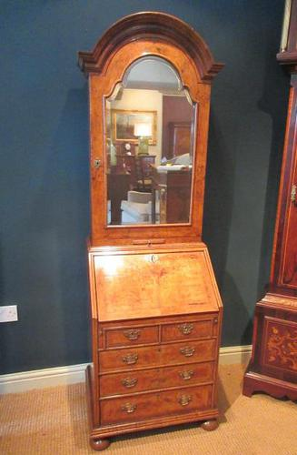 Small Antique Burr Walnut Bureau Bookcase (1 of 12)