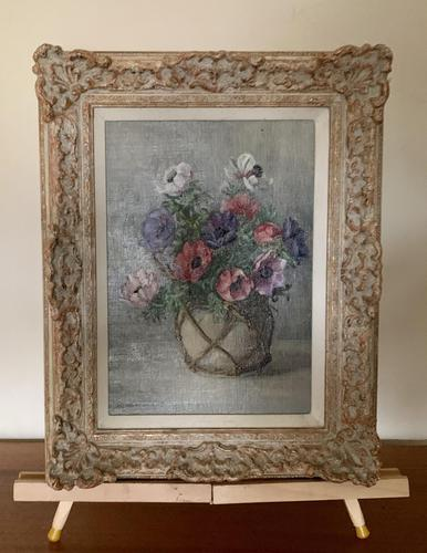 Signed Oil on Canvas Anemones in a Vase (1 of 7)