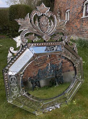 Large 19th Century Venetian Mirror (1 of 6)