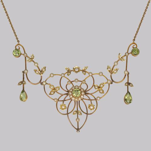 Antique Peridot & Seed Pearl Necklace Edwardian 9ct Gold Floral Scroll Necklace (1 of 8)