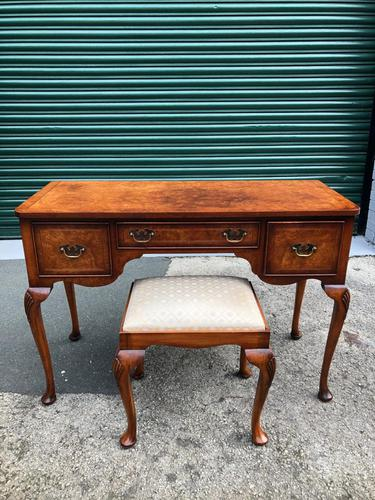 Antique Burr Walnut Dressing Table & Stool (1 of 10)