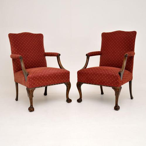 Pair of Antique Mahogany Chippendale Style Armchairs (1 of 12)