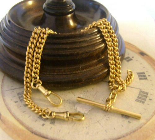 Vintage Pocket Watch Chain 1950s 14ct Rolled Gold Double Albert With Sliding T Bar (1 of 11)