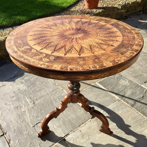 A Fine 19th C Italian Inlaid Parquetry Occasional, Centre Table with Rare Hidden Writing Slope (1 of 12)