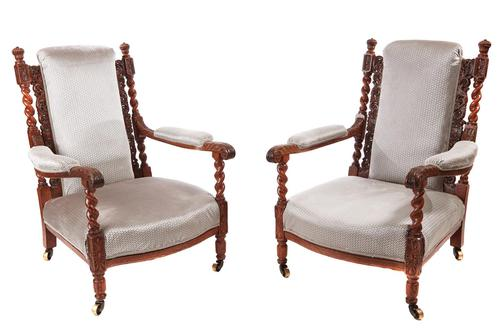 Fine Pair of Antique Carved Oak Armchairs c.1880 (1 of 13)