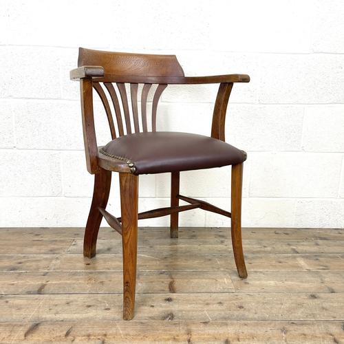 Early 20th Century Antique Oak Desk Chair (1 of 9)
