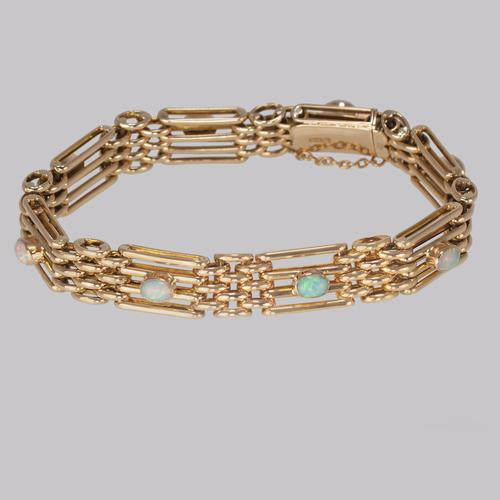 Antique Opal Bracelet 9ct Gold Victorian Gate-link Bracelet c.1890 (1 of 9)