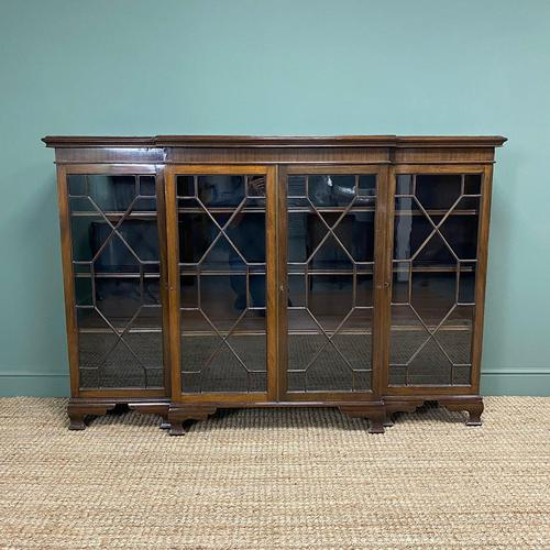 Edwardian Walnut Break Fronted Antique Bookcase (1 of 7)