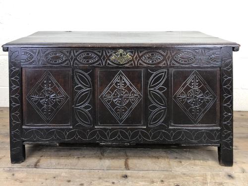 Antique 18th Century Carved Oak Coffer (M-1635) (1 of 13)