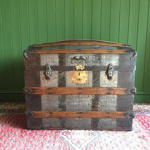Antique Victorian Dome Top Steamer Trunk Old Gothic Travel Chest Metal Storage Box Steampunk Style (1 of 10)