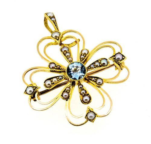 Edwardian 15ct Yellow Gold Aquamarine & Pearl Pendant / Brooch (1 of 5)