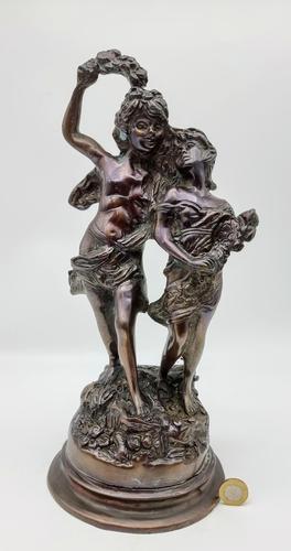 """Vintage Heavy Bronze Reproduction of the Statue """"la Fete Des Fleurs"""" Van Auguste (1 of 6)"""