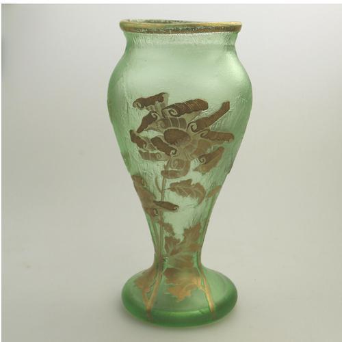 Montjoye Legras - Good & Large French Art Glass Etched Gilt Vase c.1890 (1 of 7)