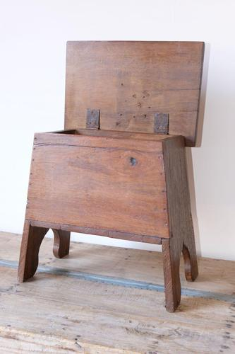 Antique Vintage Fruitwood Box Stool with Hinged Lid (1 of 14)
