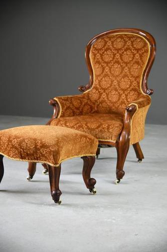 Antique Victorian Mahogany Armchair & Footstool (1 of 12)