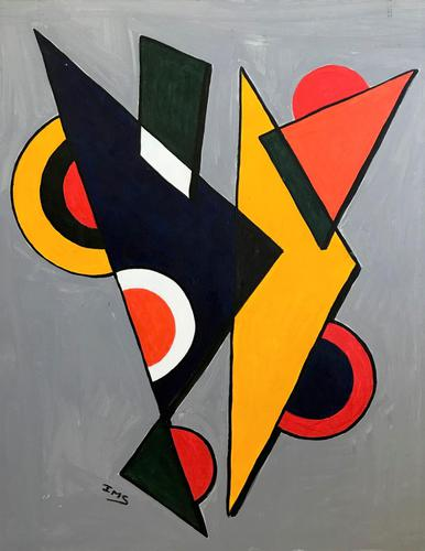 Original Acrylic Painting 'Triangles & Cirles' by Irene Stocks. c.1985 (1 of 1)