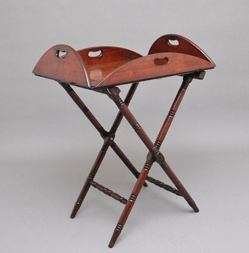 Early 19th Century Mahogany Folding Butlers Tray on Stand (1 of 10)