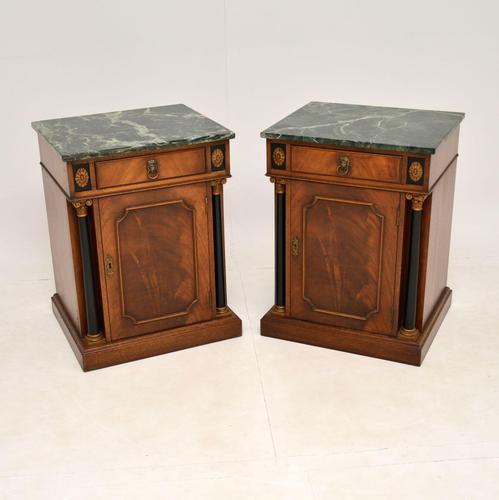 Pair of Georgian Style Marble Top Bedside Cabinets c.1930 (1 of 10)