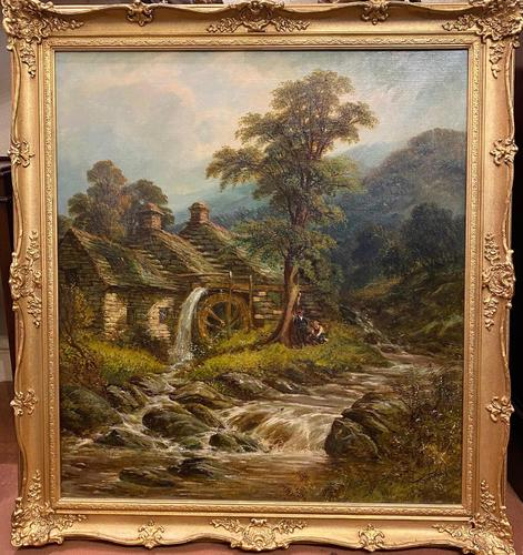 """19th Century Oil on Canvas – """"The Old Watermill"""" by Thomas Thomas (1 of 4)"""