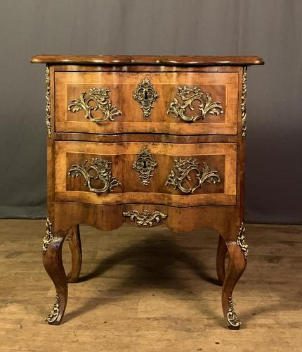French Walnut Shaped Front Commode Chest (1 of 10)