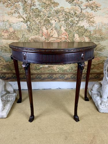 Carved Georgian Style Fold Over Card Table (1 of 8)