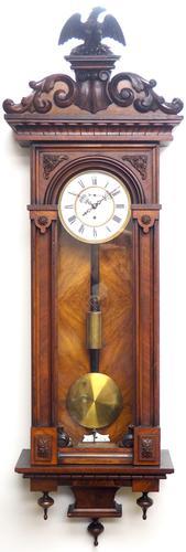 Wow! Antique German Single Weight Walnut 8-Day Vienna Regulator Wall Clock (1 of 11)