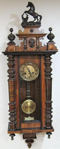 Spring Driven German Striking Vienna Wall Clock by Friedrich Mauthe. (1 of 7)